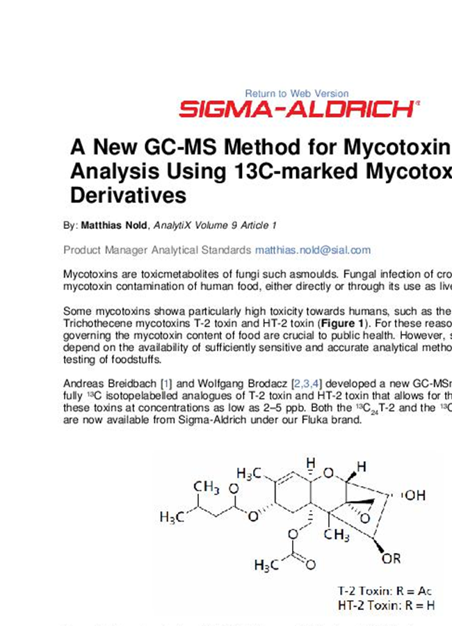 GC-MS Method for Mycotoxin Analysis Using 13C-marked Mycotoxin Derviatives