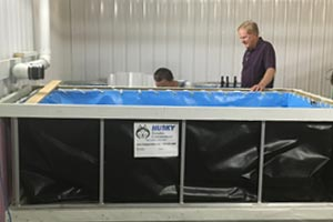 Sunflower Shrimp uses our folding frame tanks for their indoor shrimp-growing operation