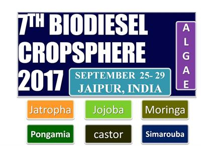 7TH GLOBAL  BIODIESEL  CROPSPHERE 2017