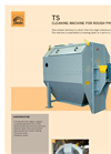 Rotary drum grain cleaner for rough product