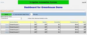 All greenhouse zones can be seen on a single page.  Data can be filtered to show which zones are out of range.