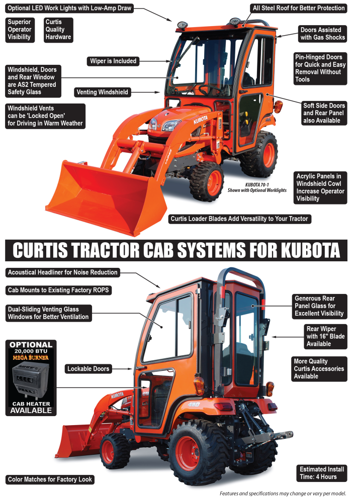 BX70-1 - Compact Tractor Cabs - Cab Systems for Kubota by