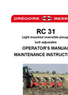 Model RC31 - Light Mounted Reversible Compact Plough - Manual