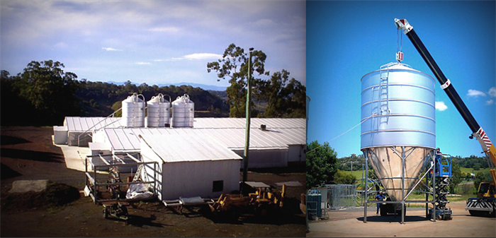 LEFT: ProTen farm near Somerton NSW RIGHT: 100 Cubic Metre construction