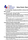 Raw Milk: Consuming Raw, Unpasteurized Milk is a Serious Health Risk- Brochure