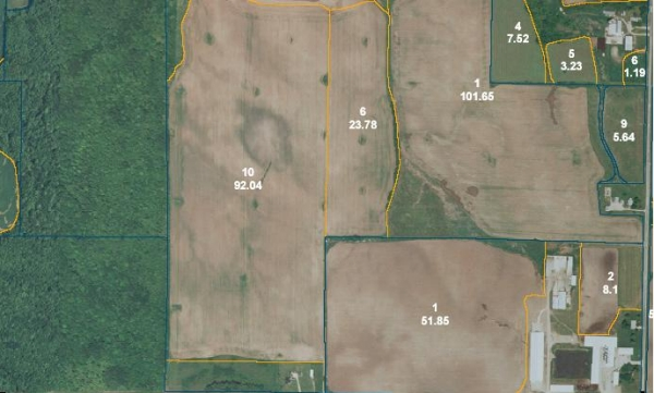 Sample Field Map provided by the FSA (Farm Service Agency) office.