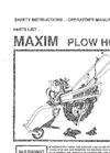 Model PH50B - Hoss Plow Manual