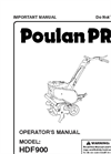 Poulan Pro - Model HDF900 - Tillers - Manual