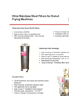 Hilco Stainless Steel Filters For Donut Frying Machines - Brochure